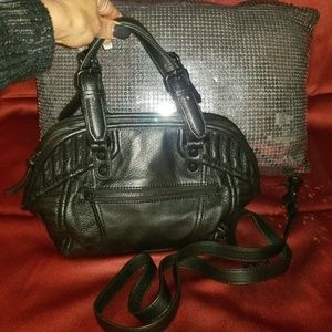 French Connection Black Leather Satchel Xbody Bag
